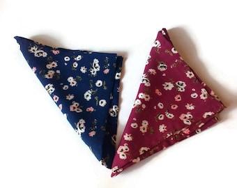for men/gift for men pocket squares set navy floral hanky burgundy floral pocket square/for groom/groomsmen gift/wedding gift/for father 12l