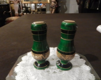 EMERALD GREEN WOOD Salt and Pepper Shaker Set
