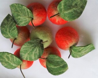 Wet felted apples Felted fruits Felt apples Wool fruits for decor Hand made apples for decor Fruits for wreath, garland Apples for crafts