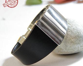 Sterling silver bracelet/ Leather bracelet for women/ Handmade jewelry/ Elegant bracelet for woman/ Bangle bracelet/ Silver cuff/ Woman cuff