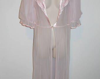 Vintage Ultra Sheer Petal Pink Chiffon Peignoir Negligee ~ Sheer Peignoir ~ Pretty Girl ~ Glamorous