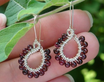 ENDLESS LOVE - Sterling Silver Wire-Wrapped Tear Drop Dangling Earrings - Garnet and Sterling Silver - January Birthday Gift