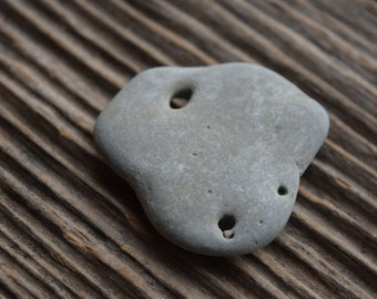 Lucky Stone Beach Stone with Hole Sea Stone Pendant Good Luck Stone 3 Baltic Beach Stones Zen Stones