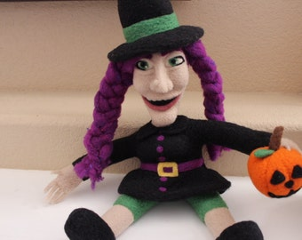 Needle felted Halloween Witch, art doll, needle felted doll, Halloween decoration, soft sculpture