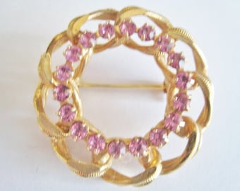 Circle Pin with Pink Rhinestones Pin