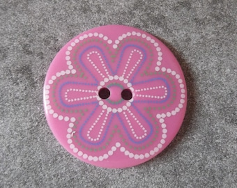 large plastic button pink 35mm