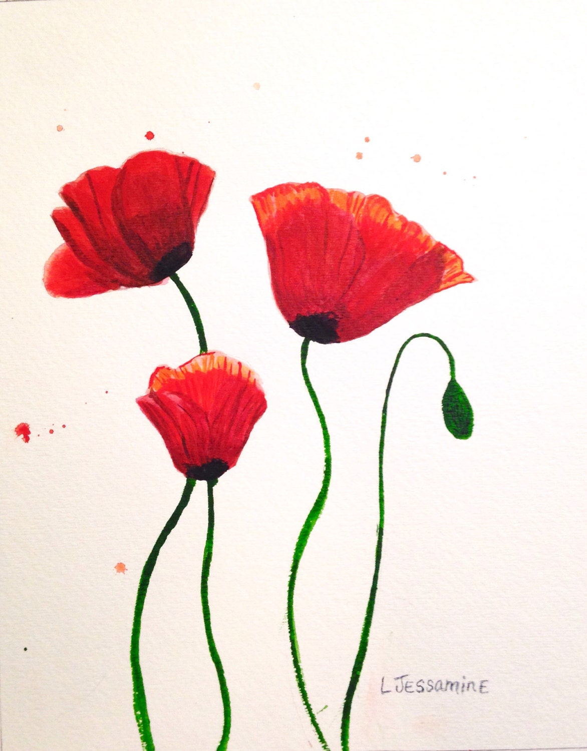 Red poppy original watercolor painting flower painting red flowers red poppy original watercolor painting flower painting red flowers wall art red and white poppy flower poppy flowers 8x10 mightylinksfo Image collections
