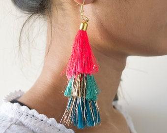 Tassel Chandelier Earrings,Statement Earrings,Jewelry, Earrings,boho jewelry,Tassel jewellery,Indian Jewellery,Boho Earrings,Tassel Earrings