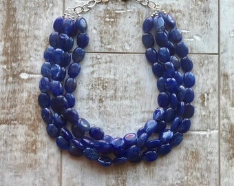 Navy Blue Beaded Necklace, Multi strand Necklace, Blue Chunky Necklace, Statement Necklace, Blue Wedding, Bridesmaid Necklace