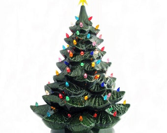 Giant Green Ceramic Christmas Tree Color Lights 24 Inch Tall Electric Tabletop Tree - Made to Order