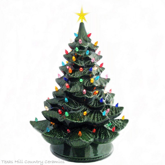 16 Foot Christmas Tree: Giant Green Ceramic Christmas Tree Color Lights 24 Inch Tall