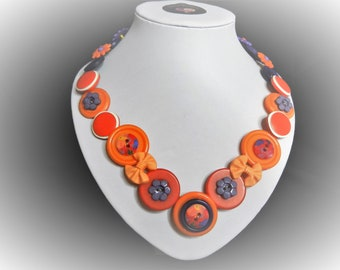 Button necklace - Orange Blossom. Gift for her, boho necklace, statement necklace, unique gift, buttons, handmade jewelry, Mothers Day, OOAK