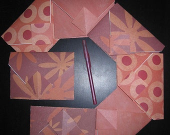 REDS Flowers Circles Marble - 7 Decorative Folded Self-Closing Origami Paper Ephemera Envelopes, Dbl Thick Single Side 12x12 Scrapbook Paper