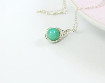 Amazonite Necklace in Sterling Silver - Simple Blue Green Stone Necklace - Handmade by Adonia Jewelry