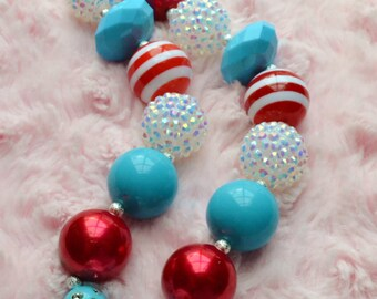 Dr. Seuss Inspired - Chunky Beaded Bubblegum Necklace - Turquoise - Red - White - Clear - Diamond Pendant