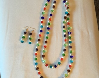 Summer Dreams Pearl & Glass Necklace and Earrings