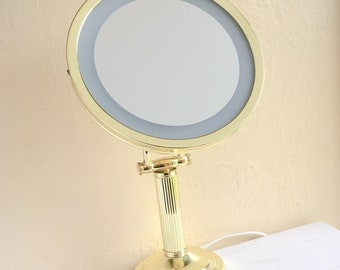 Vintage Gold Makeup Mirror with Light Lighted Electric Adjustable Lit Make-up Mirror Classic Glamorous Hollywood Regency Style