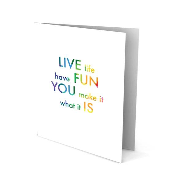 Handmade Greeting Card - Colorful Words - Live Life