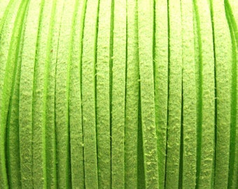 6 m suede imitation 3 x 1.5 mm green, pale, flat, faux leather