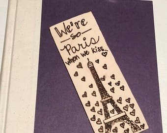 Paris Bookmark leather love kiss eiffel tower valentines