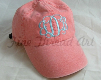 LADIES Monogram Baseball Cap Hat LEATHER strap Mom Bridesmaid Bride Bachelorette Pigment Dyed