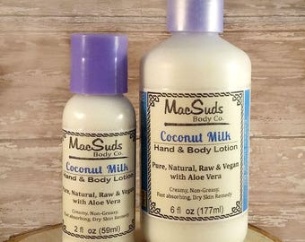 Coconut Milk Lotion,  Aloe Lotion, Unscented, Face Cream, Hand and Body Lotion, Dry Skin, Body lotion, hand lotion, Vegan lotion,