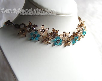 Crystal Necklace; Swarovski Necklace; Glass Necklace; Sweet Brown and Teal Multiflora Swarovski Crystals Necklace by CandyBead