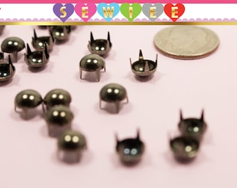 Set of 100 6mm 5 Prongs Dark Gunmetal Dome Nail head | Dome Nailhead Studs |Domed Pearlized | Dome Studs |DYI Studs|Multi Prong|Leather V100