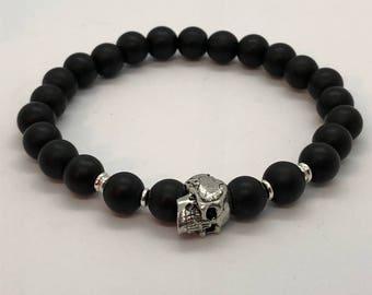 Matte Black Skull Bracelet
