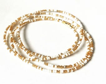 Gold and White Waist Beads - African Waist Beads - Belly Chain - Belly Beads - With Clasps
