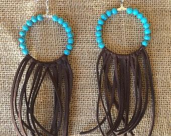 Turquoise Fringe Hoops