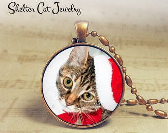 "Christmas Tabby Kitty in Santa Hat Necklace - 1-1/4"" Circle Pendant or Key Ring - Holiday Cat - Christmas Present Holiday Gift Animal Lover"