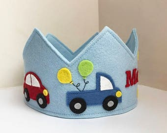 Car Birthday Crown, Wool Felt Crown, Transportation Crown, Party Hat,Personalized,