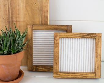 Handmade Farmhouse Ticking stripe Art - Salvaged Wood Cream and Tan Farmhouse Ticking Stripe Gallery Wall Art