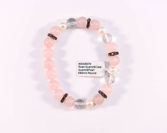 Beautiful Rose Quartz, Clear Quartz and Pearl Bracelet.
