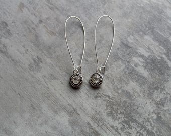 classic earrings - long earrings - sparkly earrings - date night jewelry - girls night out - silver earrings - gifts for her - valentines