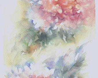 Acuarela ORIGINAL, título HORTENSIAS.  Medidas 43x19 cm. Tema flores.  WATERCOLOR