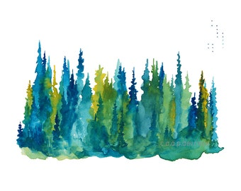 Treeline 1 - Watercolor Art Print - pine trees, forest, evening, treeline, nature, north woods