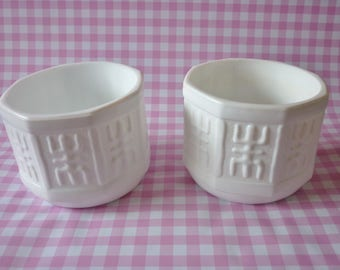 Two Octagon Shaped Milk Glass Planters
