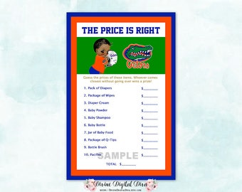 Price Is Right Baby Shower Game   Florida Gators Orange Blue Green   African American Baby Boy   Digital Instant Download