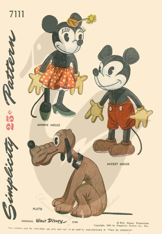 Mickey und Minnie Mouse und Pluto Puppe Schnittmuster