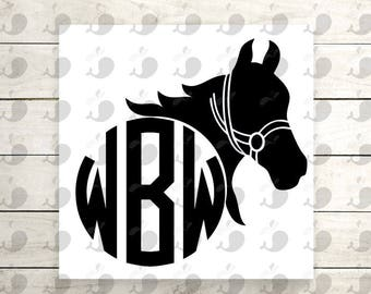 Horse Monogram Iron On Decal, Horse Iron On Heat Transfer Decal