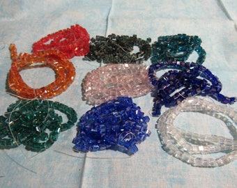 4mm Cube Glass Bead Strand Clear AB (B52a3,102c)