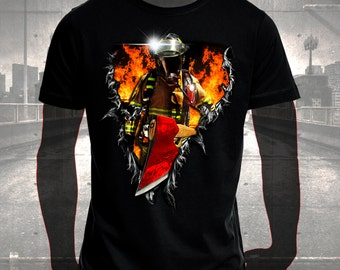 T-shirt printed with Firefighter 3D