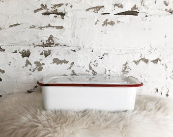 vintage red and white enamel container with lid