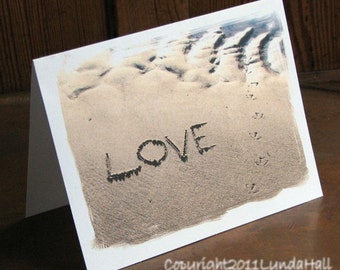 Beach Theme Wedding LOVE Note Cards Set of Three- romantic message written in the sand, beach words, romantic summer cards, wedding card