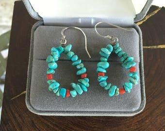 Vintage Turquoise Earrings Southwestern Earrings Turquoise Hoops and Red Coral Hoop Earrings Beaded Dangle Earrings Southwestern Jewelry