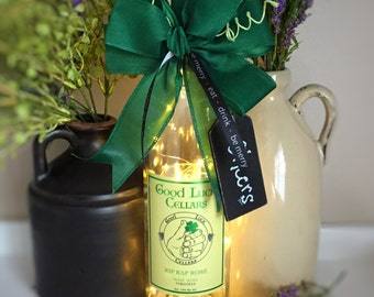 Wine Bottle Decor / Eat Drink Be Merry / Good Luck / Cheers /  Four Leaf Clover / Battery Powered / Recycled Bottle Lamp / Retirement Gift