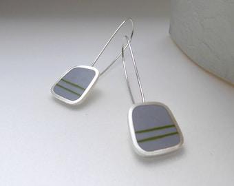 Grey Earrings - Titanium Gray Drop Earrings - Silver - Striped Earrings - Birthday Gift for Mum - Graphico Long Drop Earrings