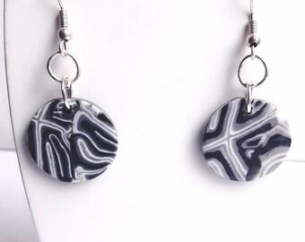 Dangling earrings black and gray, women earrings
